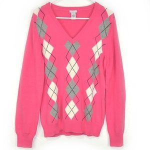 Izod Women Cotton V Neck Pink Sweater Size L